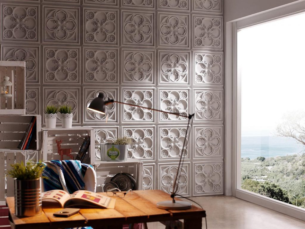 1000 White Alhambra decorative stone panel office