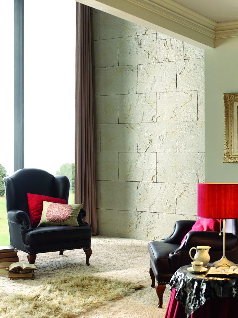 Sandy White Tibet Faux slate wall veneer - french window (330)