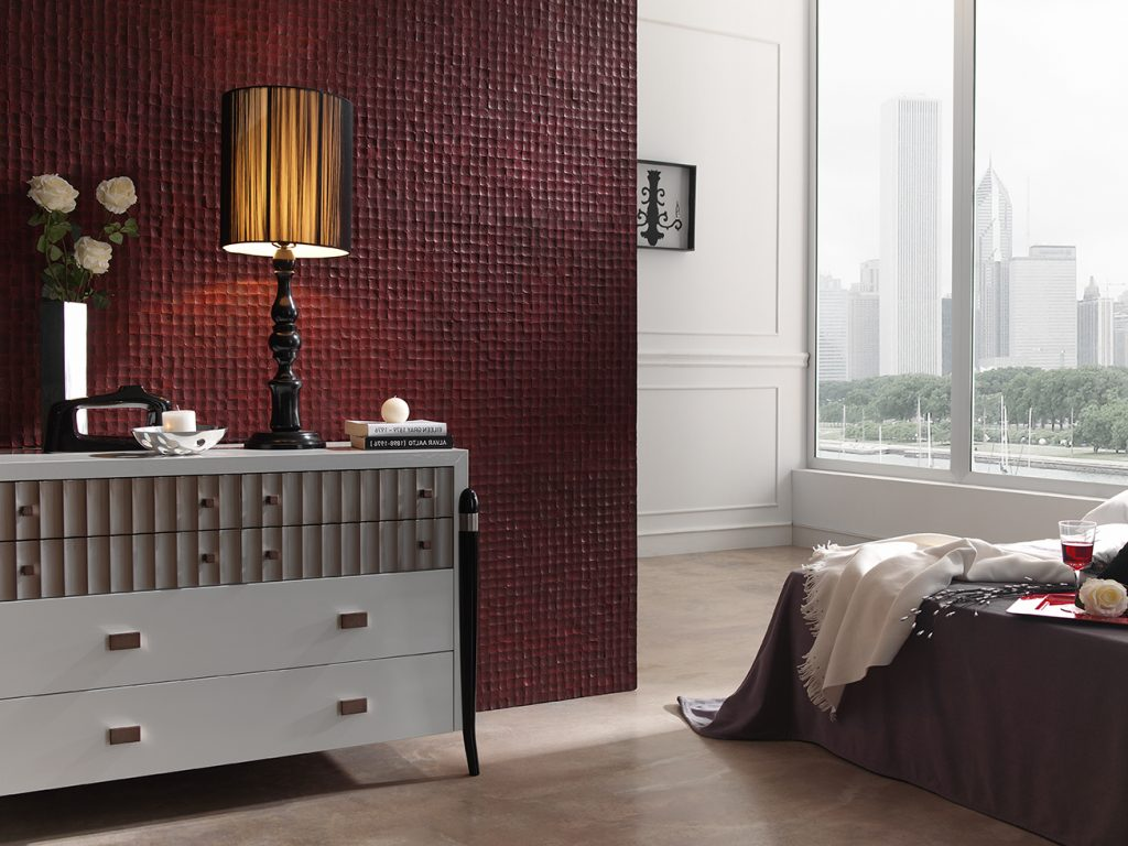353 Coco Bordeaux featrure wall bedroom