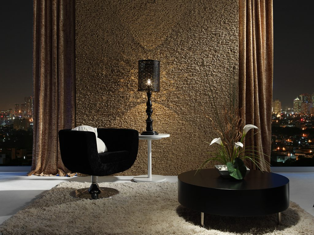 360 Ochre Deluxe Stone panel Feature wall living room