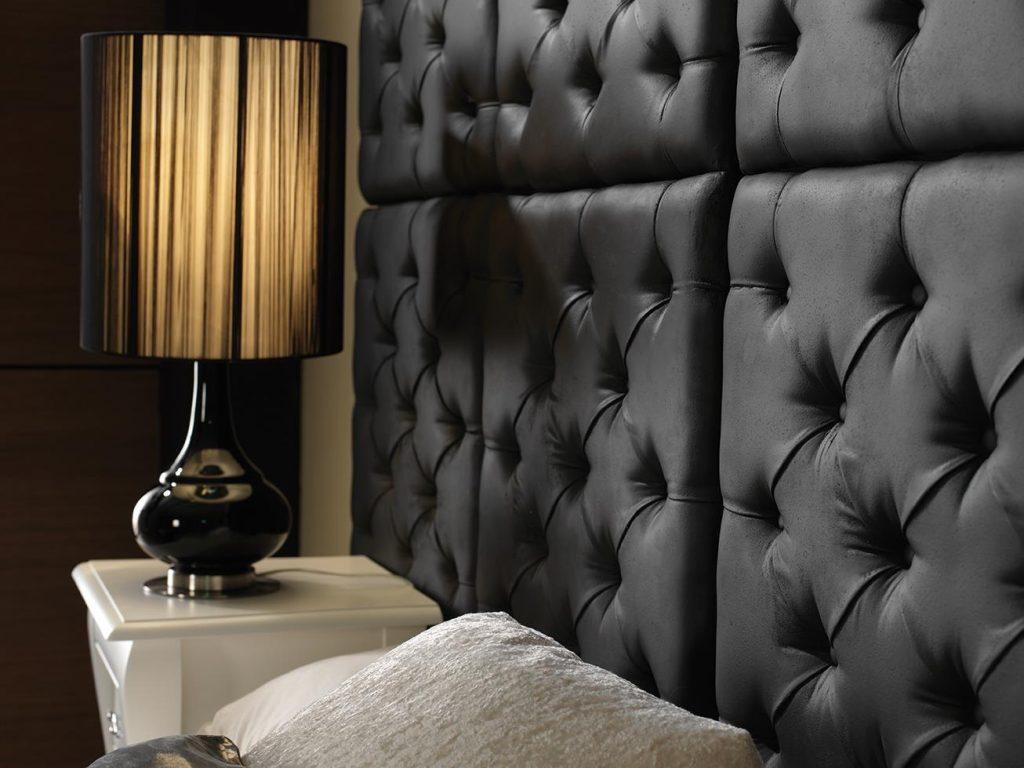 472 Black Capitone decorative wall Panels bed headboard close up